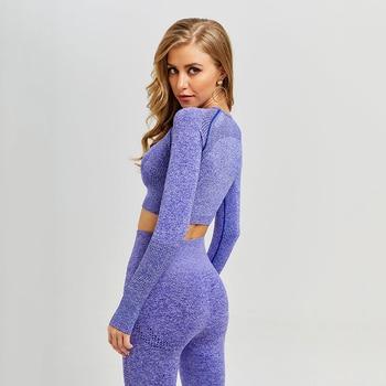Las mujeres Vital sin Yoga conjunto, ropa de gimnasio Fitness polainas + Pantalones camisas traje de deporte de las mujeres de manga larga chándal desgaste activo
