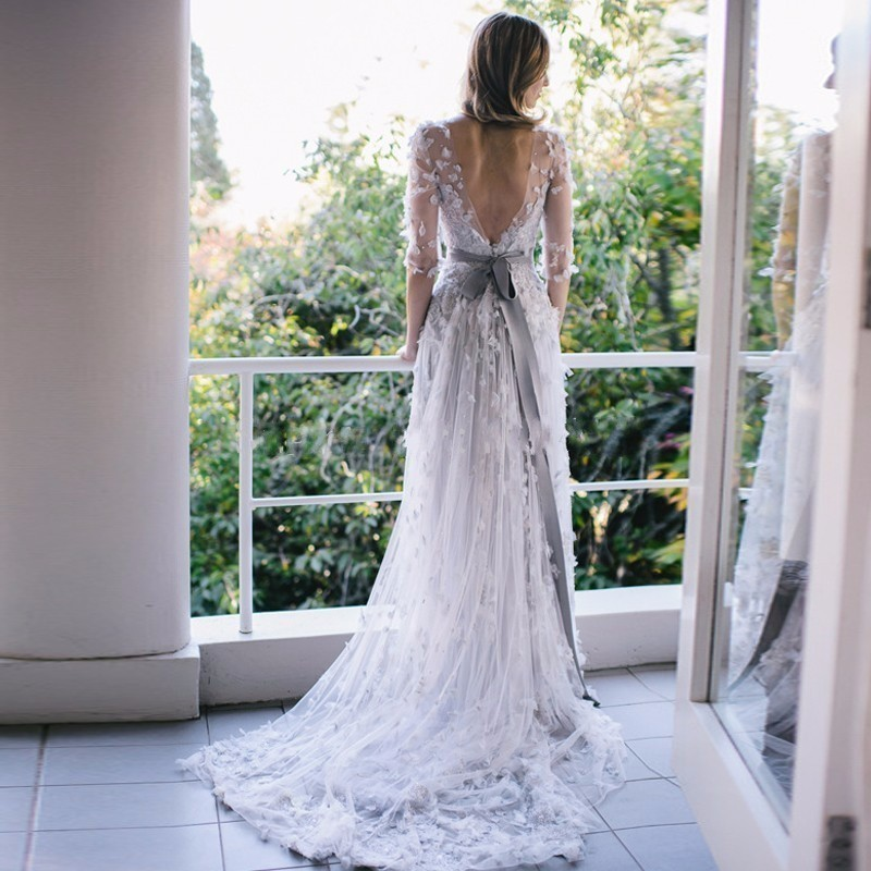 Vintage light grey lace beach wedding dress 2017 sexy for Gray lace wedding dress