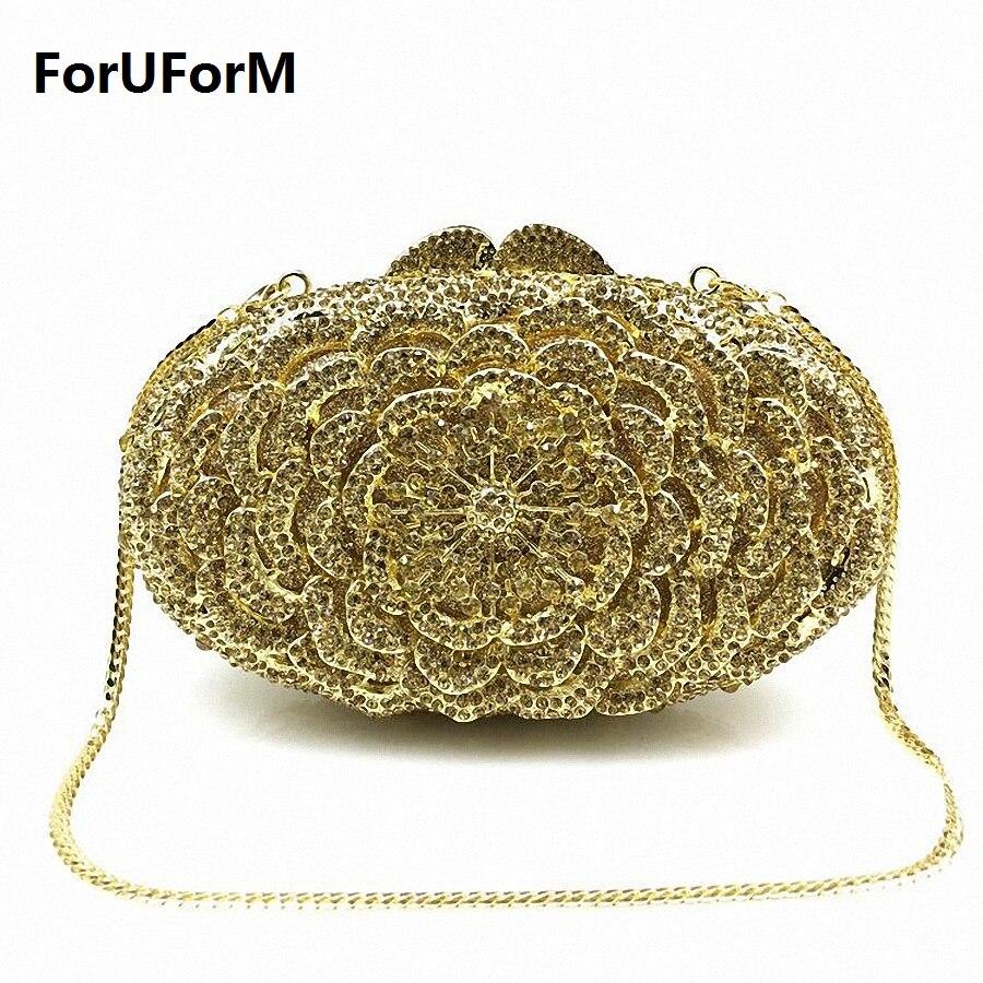 ForUForM forma de La Flor de Lujo bolsos de Embrague de cristal de bling del rhi