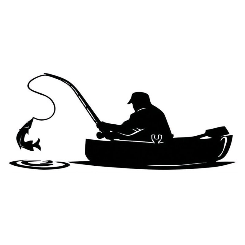 15.2*6.5CM Fashion Fisherman Fishing On Board Car Sticker Covering The Body Of Interesting Vinyl Decals Black/Sliver C7-1326