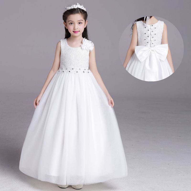 2017 Kids Girls Birthday Party Wedding Princess tutu Dress For Baby Girls Clothes Lace Flowers Children Bridesmaid Elegant Dress купить
