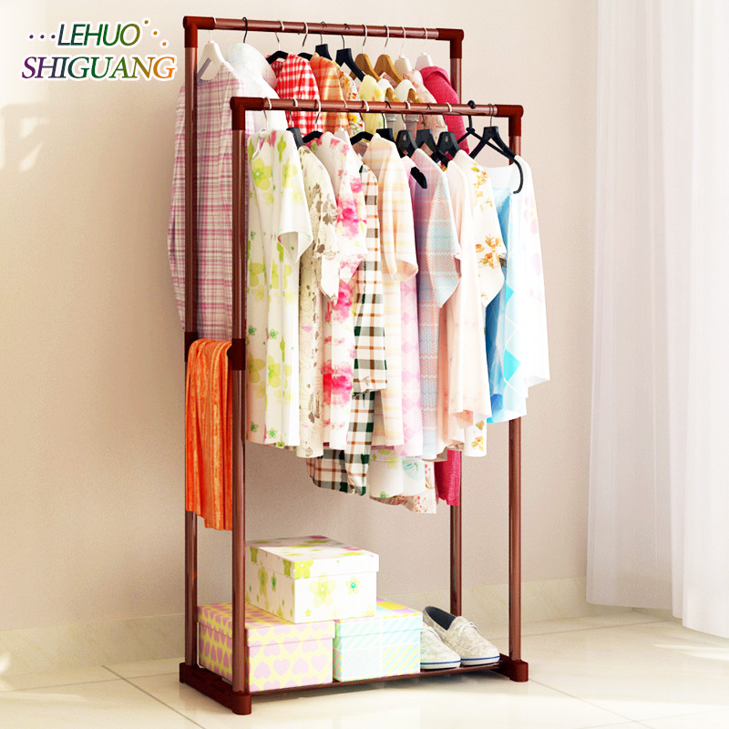 Clothes hanger Double rod iron pipe Simple Assembly can be removed balcony Hanging storage clothes hanger wardrobe