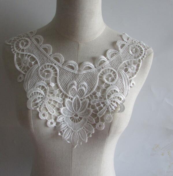 Women's Korean Fashion White Lace Fake Collar Lady's Hollow Out Flower Embroidery Diy Accessories Ties Detachable Collar R972