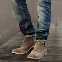 Leather Suede Men's Retro European Style Shoes Chelsea Boots Genuine Leather Short Tube Vintage Boots X343