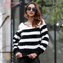 Aelegantmis Autumn New Long Sleeve Striped Furry Sweater Women Elegant  Sequin O Neck Pullover Sweaters Girl Casual Loose Jumpers 801cddc6b