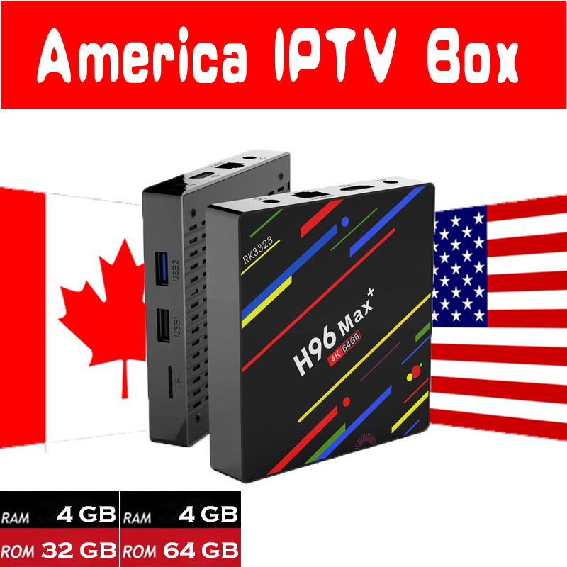 New H96 MAX Plus 4G+32G 4G+64G Android 8.1 TV Box with 7000 Live 8000 VOD USA Canada Latino America English HD IPTV Media Player