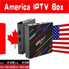 Nova H96 MAX Plus 4g + g 4g + 64 32g Android 8.1 Caixa De TV com 7000 viver 8000 VOD EUA Canadá América Latina Inglês IPTV HD Media Player