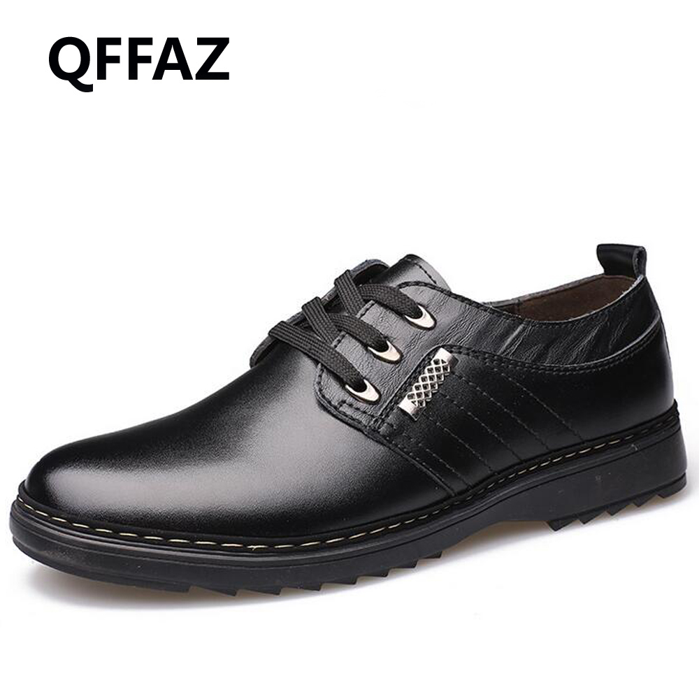 QFFAZ New Leather Mens Dress Shoes High Quality Oxford Shoes For Men Lace-Up Business Men Shoes Fashion Casual men shoses