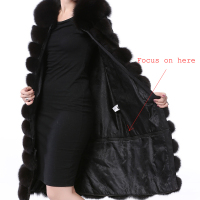 Women's Long Real Fur Black Vest Natural Fox Fur Vest With Detachable Bottom Wearing 110CM Vest