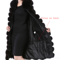 Women's Long Real Fur Black Vest Natural Fox Fur Vest With Detachable Bottom Wearing 110CM Vest