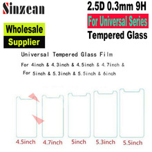 Sinzean 50pcs For Universal 6.0'' 5.5'' 5.3'' 5.0'' 4.7'' 4.5 4.3 4.0 inch 2.5D tempered glass screen protector Film (Wholesale)