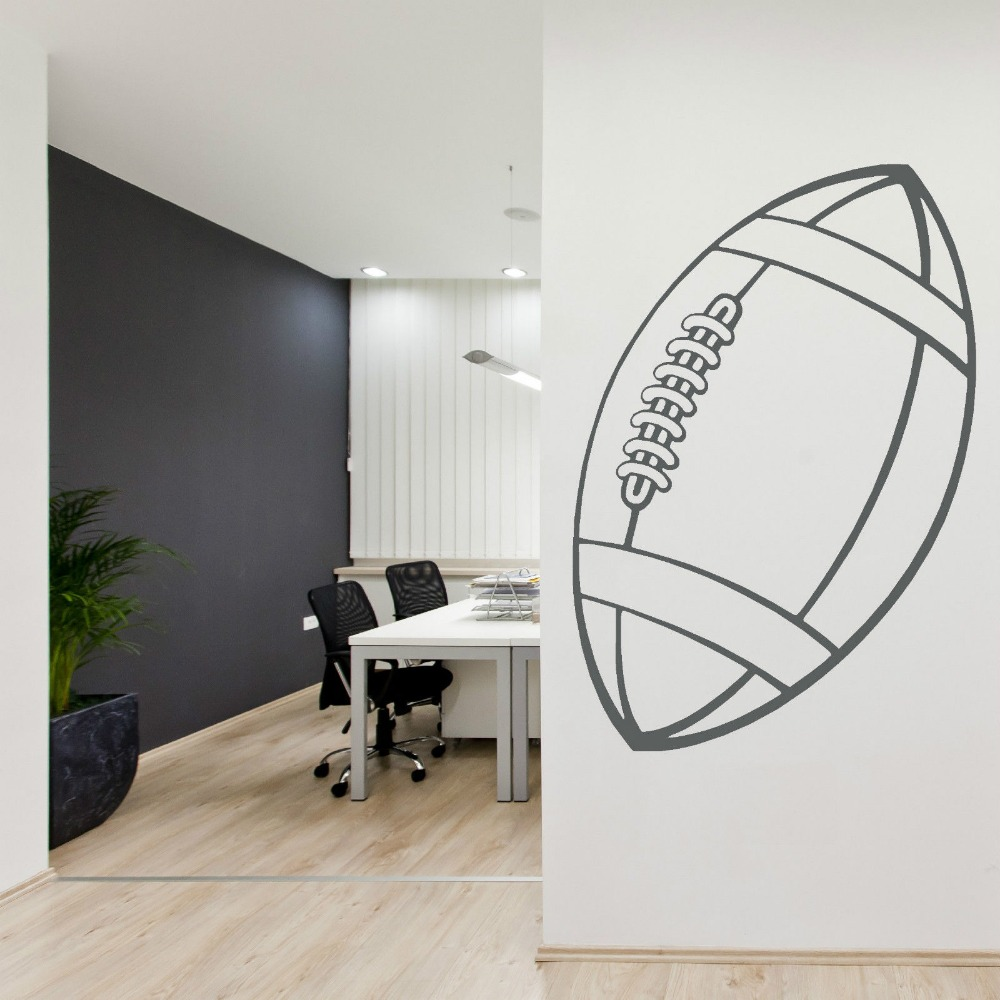 Rugby ball vinyl wall art sticker decal sports hall stickers muraux adesivos de parede removable bedroom wall decals d420 in wall stickers from home