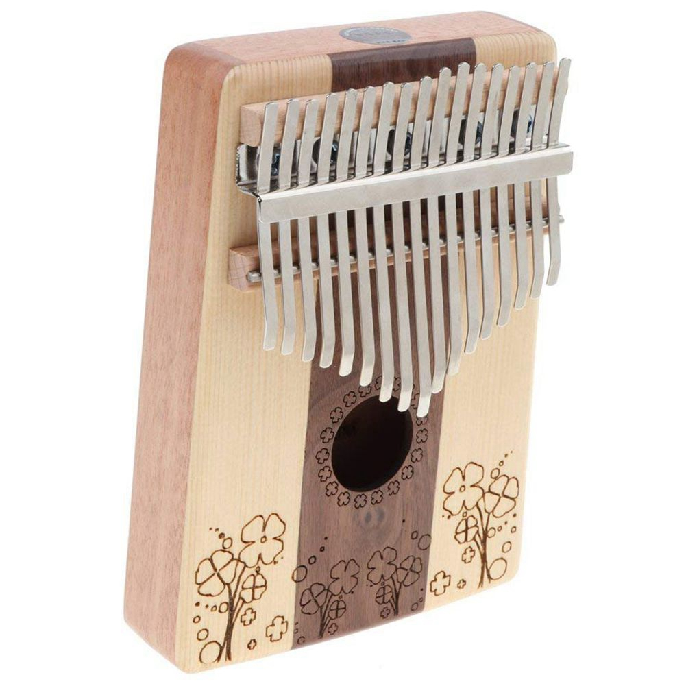 Music S Kalimba 17 Key Thumb Piano Finger Percussion for Children Music Toy Gift Four leaf Clover Pattern