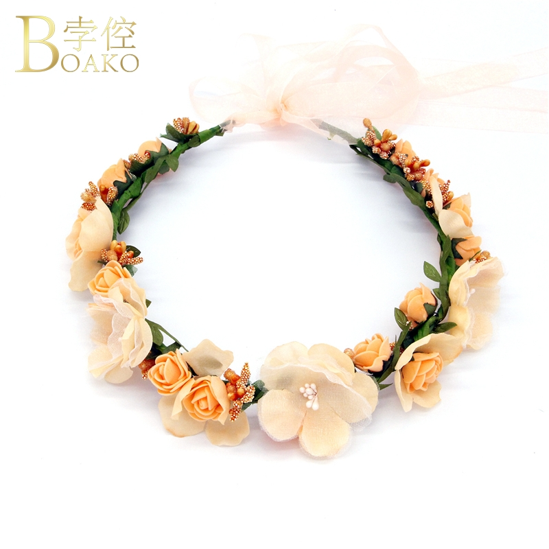 BOAKO Flower Hairbands Bridal Wedding Hair Ornament Flower Crown Hair band Garland Bride Headband Girl Party Hair Jewelry K5 in Hair Jewelry from Jewelry Accessories