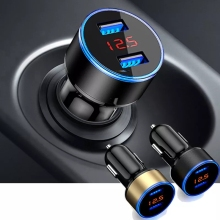 Dual USB Car Charger LED Display 3.1A 12V 24V Cigarette Lighter Phone