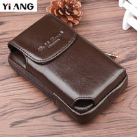 YIANG Men's Fashion Travel Mini Genuine Leather Cigarette Waist Belt Bag Fanny Pack Molle Money Key Purse Mobile/Cell Phone Bags