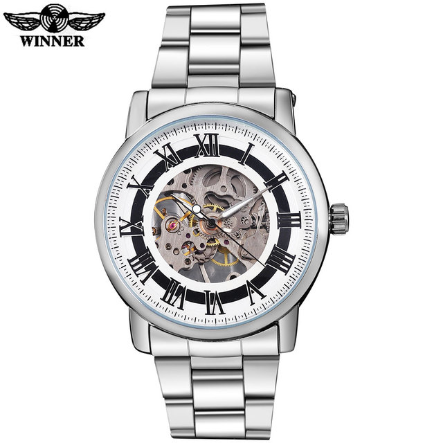 2016 WINNER china brand men business mechanical hand wind watch skeleton dial silver case transparent glass stainless steel band