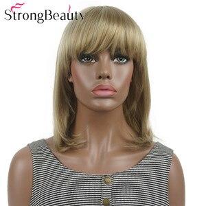 Image 2 - StrongBeauty ישר סינטטי פאות בינוני ארוך שיער עם פוני מסודר נשים פאת רבים צבעים