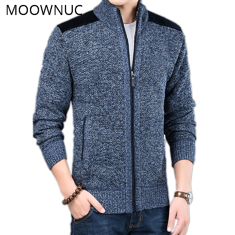 Fashion Sweater Classic Style Men Slim MWC Stand Collar Casual Cardigan Autumn Keep Warm Long Sleeves Brank MOOWNUC Winter