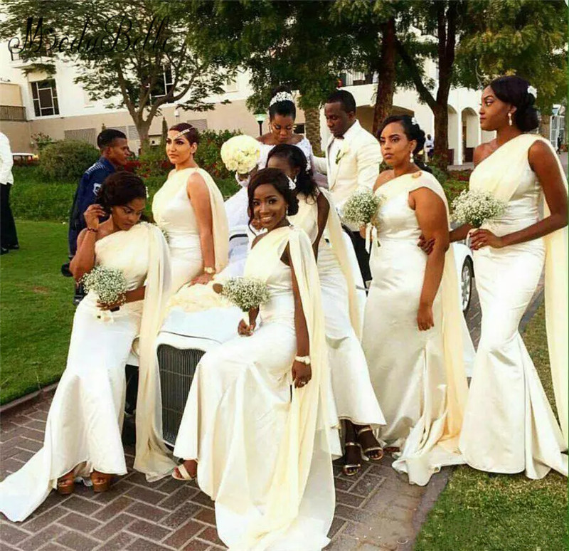Modabelle African One Shoulder Mermaid   Bridesmaid     Dresses   Satin Long Black Girl Prom   Dress   Zipper Back Formal Wear