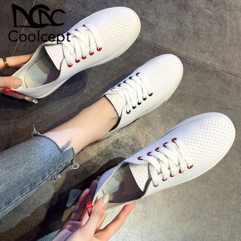 Coolcept Women Sneakers Fashion Style Vulcanized Shoes Women Casual Daily Shoes Street Vacation Flats Footwear Size 35-40Coolcept Women Sneakers Fashion Style Vulcanized Shoes Women Casual Daily Shoes Street Vacation Flats Footwear Size 35-40