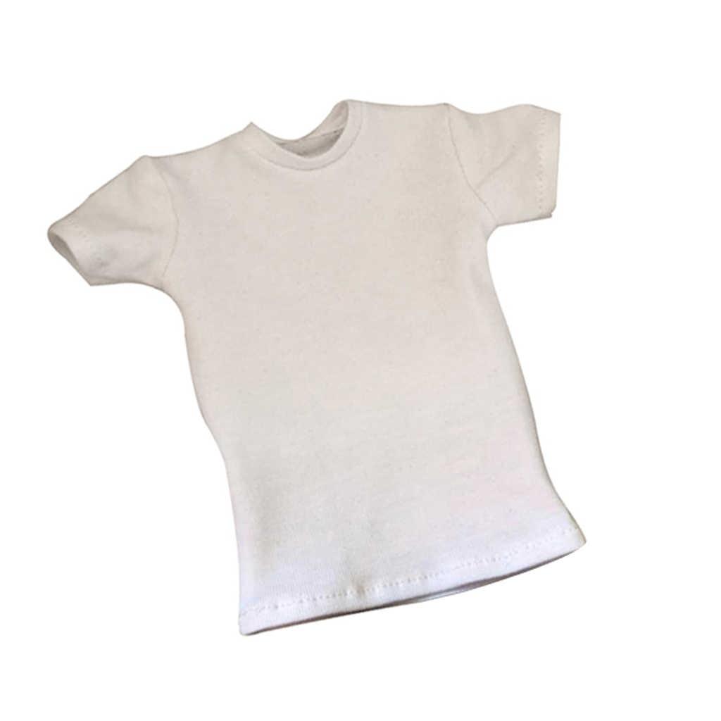 패션 1/6 화이트 코 튼 느슨한 라운드 넥 짧은 t-셔츠 탑 12 인치 남성 액션 그림 인형 셔츠 의류 인형 액세서리