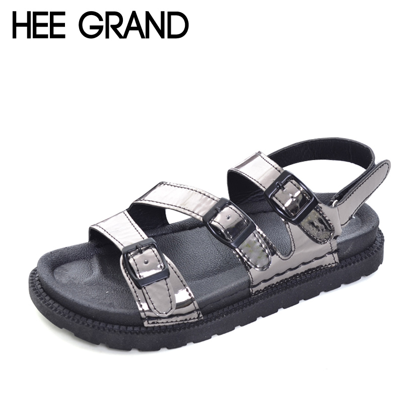 HEE GRAND 2017 Creepers Summer Platform Gladiator Sandals Casual Shoes Woman Slip On Flats Fashion Silver Women Shoes XWZ4074 hee grand summer gladiator sandals 2017 new beach platform shoes woman slip on flats creepers casual women shoes xwz3346