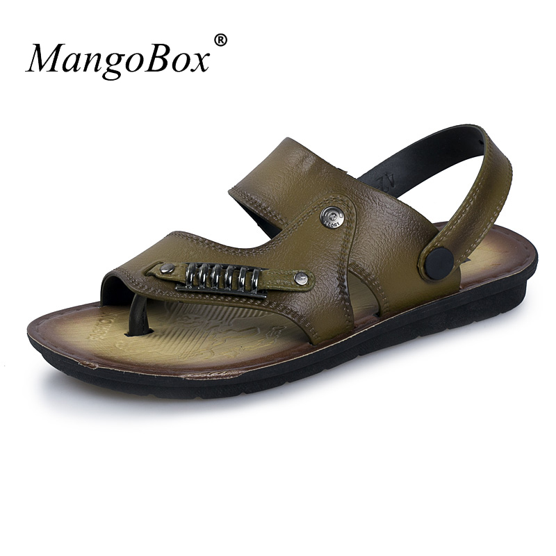 Summer Sandals for Men Slip-on Sandals Male Summer Brown Khaki Mans Shoes 2018 Casual TPR Bottom Walking Sandals