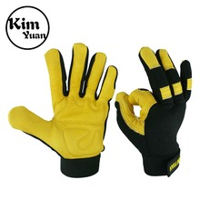 KIM YUAN Leather Motorcycle Gloves, Grain Deerskin Glove for Work, Driving, Gardening, Hunting, Climbing - Extremely Soft