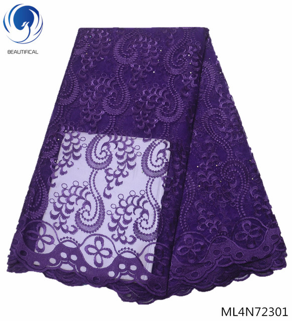 BEAUTIFICAL african lace fabrics Fashion embroidery style nigerian tulle lace fabric for women dresses 5yards ML4N723
