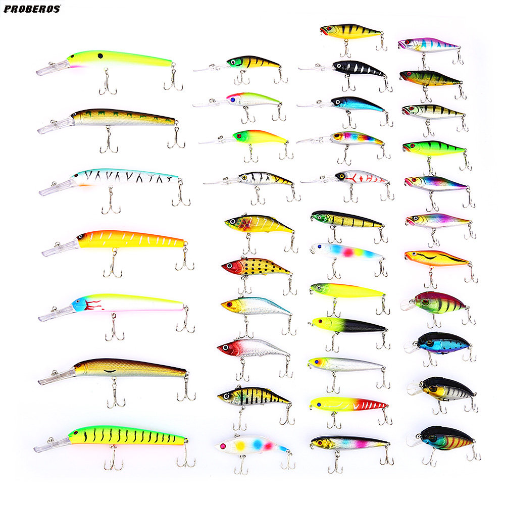 Proberos Fishing Lure 40pcs Minnow Popper Iscas Artificial Hard Bait Fishing Lure Kit Crankbait Swimbait with Treble Hook fishing lure kit 50 pieces soft hard bait spoon minnow vib crankbait jig head worm accessories with case