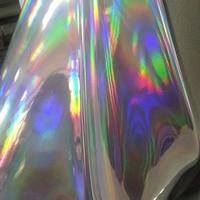 Хорошее качество Лазерная Серебряная искусственная кожа ткань крутая Радужная блестящая искусственная кожа ткань синтетическая кожа ткан...