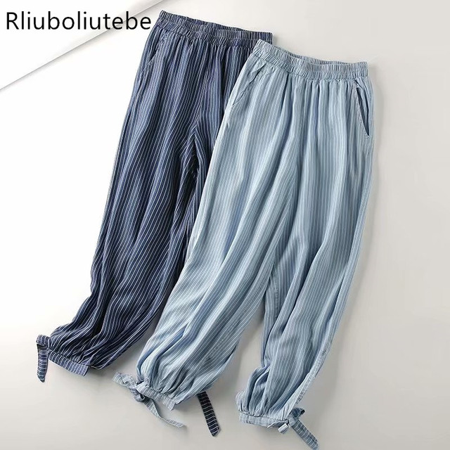 soft denim striped harem pants blue light blue Jeans loose palazzo pants elastic waist casual autumn spring pants summer