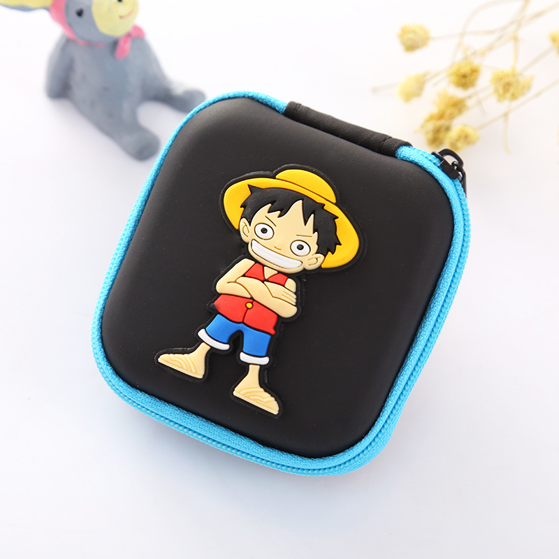 Hot Anime Silicone Coin Purse Cute Cartoon One Piece Organizer Wallet Headphone Holder Bag Men Women Creative Gift Mini Wallets m215 cute cartoon pets akita dog siberian husky personality plush coin purse wallet girl women student gift wholesale