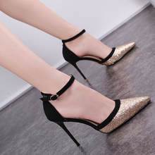 2018 Summer Woman Sexy High Heels Gold Glitter Sandals Party Shoes Pointed Toe Pumps Sandales Femme 775