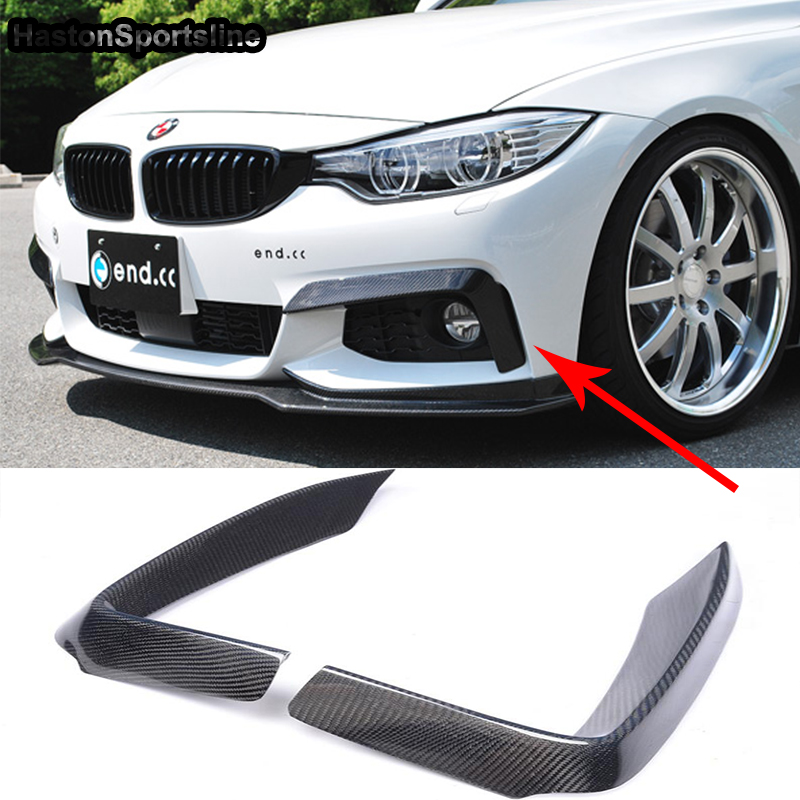 F32 F33 F36 M-Sport Carbon Fiber Auto Car Front Lip Splitter Cover trim for BMW 420i 425i 430i 440i M-Tech 2014 2015 2016 universal auto car bumper moulding decorative fins canards front splitter sticker carbon fiber car styling for all cars 4pcs set