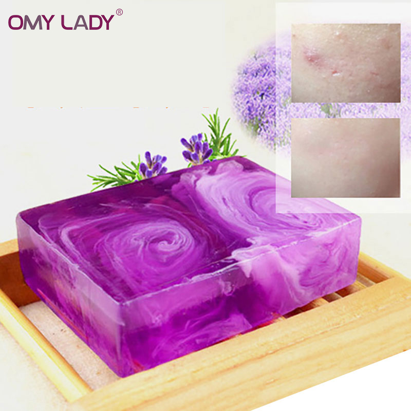 OMY LADY Organic Natural Lavender essential oil control handmade soap Remove acne treatment Moisturizing hydrating smoothing 100g natural organic herbal green papaya whitening handmade soap lightening skin remove acne moisturizing cleansing bath soap page 3