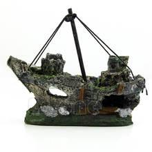 Затонувший корабль аквариумный орнамент парусная лодка Разрушитель аквариум пещера декор смола орнамент ландшафтное украшение