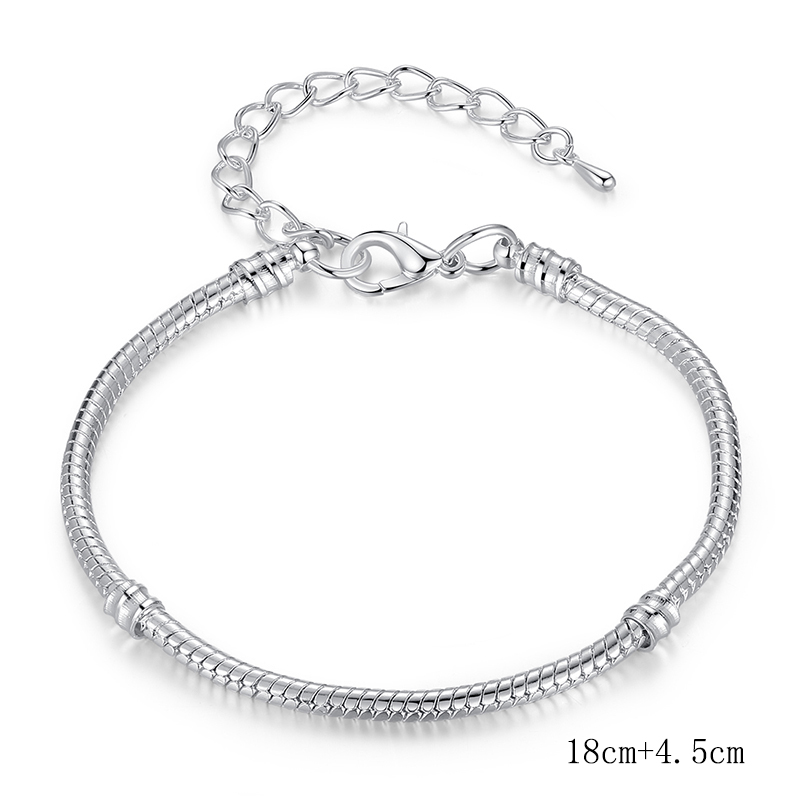 3dceca0c67b81 HOMOD 6 Style Dropshipping 3mm Diameter 17-21cm Silver Color Diy Snake  Chain Brand Charm Bracelets For Women Jewelry Gifts