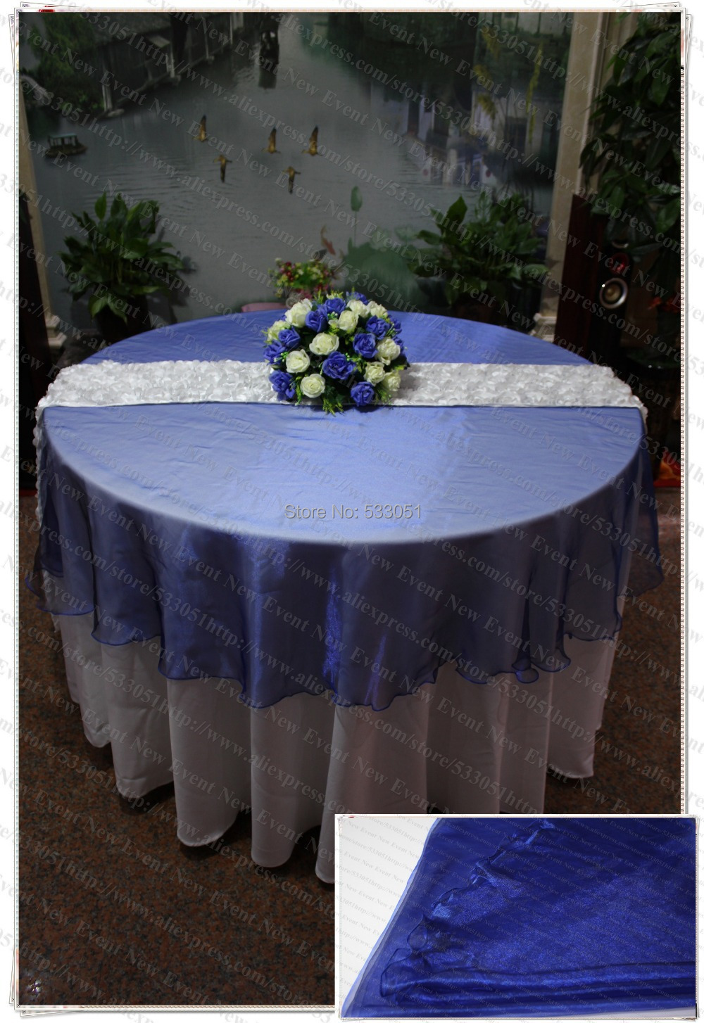 210cm round navy blue color organza table overlay for Round table 52 nordenham