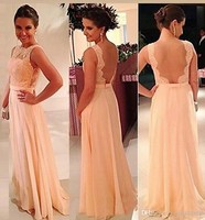 2018 Best Popular Bridesmaid Dresses Chiffon Floor Length Peach Color Backless Brides Maid Dress On Sale