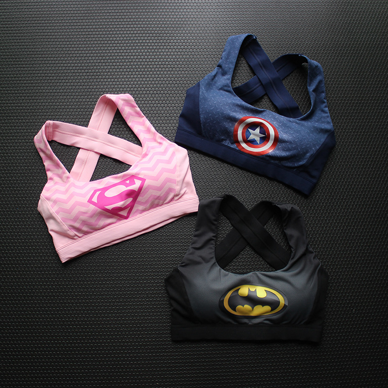 Female Fitness Yoga Bra Sports Bra Padded Batman Captain America Superhero Crop Top Tank Tops Sport Bra Top for sports 1