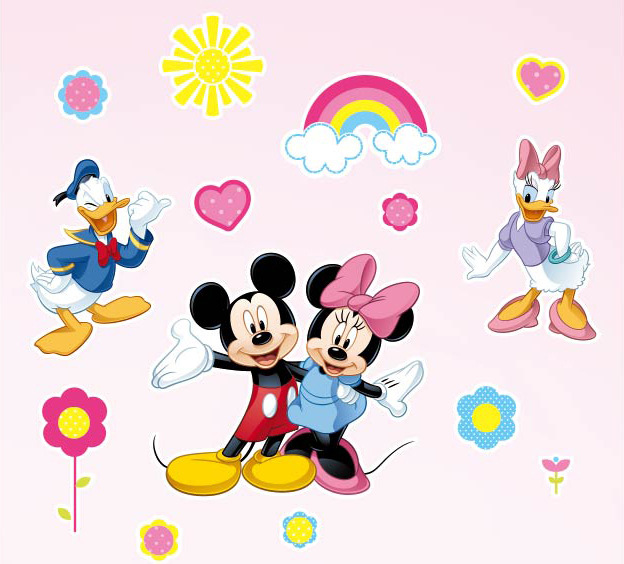 PVC Cartoon Removable Mickey Mouse Wall Sticker Minnie