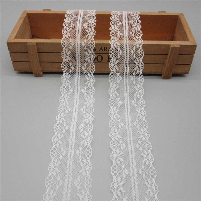 10 ярдов Белый Кружевной Лентой скотч 40 мм широкий отделкой ткань ремесла вышитые Чистая шнур для шитья украшения африканский шнурок ткань