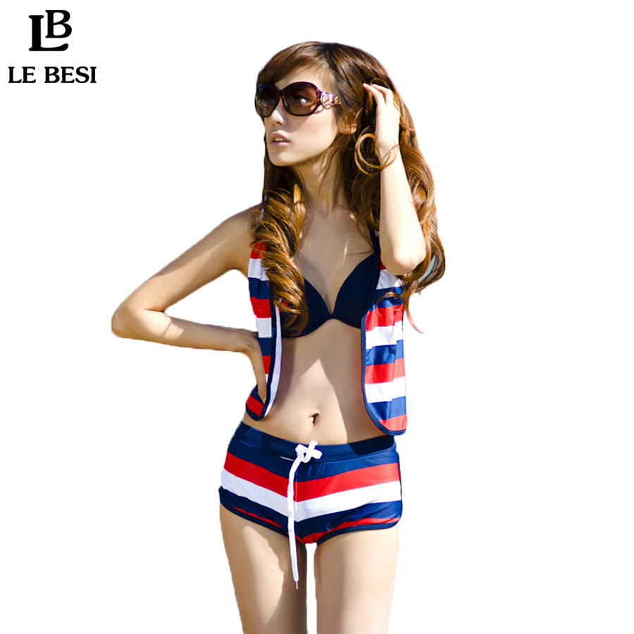 ФОТО LE BESI 2016 New Swimwear Underwire Three Piece Bikini Set For Women Vest Rainbow Striped Biquini Naval Style Swimsuit Beachsuit