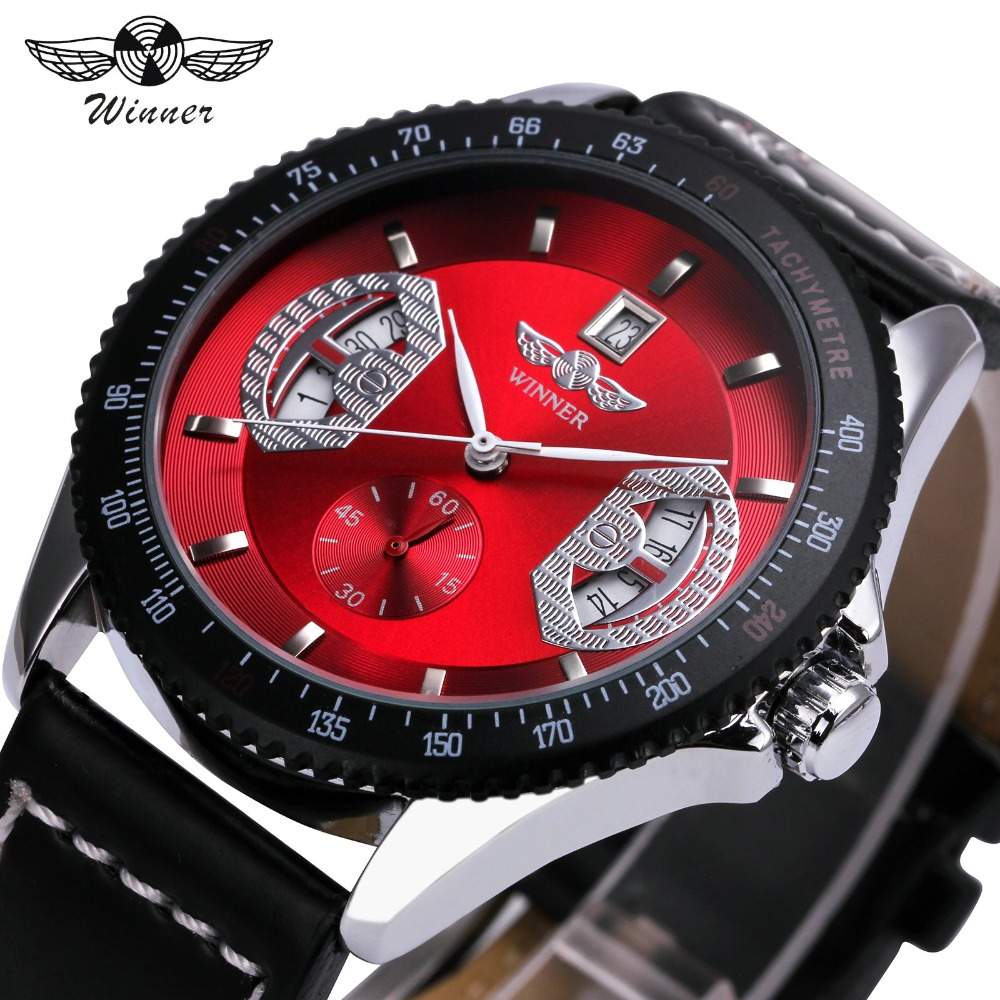 WINNER Men Fashion Auto Mechanical Watch Leather Strap Sub Dial Date Display Tachometer Top Brand Luxury Wrist Watch + GIFT BOX winner men s automatic mechanical watch stainless steel strap date calendar sub dial supersize new fashion sports design