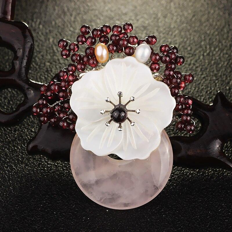 FARLENA bijoux italien tissé à la main pierre naturelle Bouquet broche Vintage coquille naturelle fleur deau douce perle broches pour les femmes