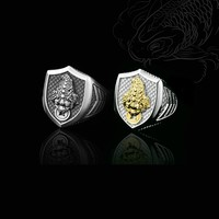 sterling silver ring palace restoring ancient ways of Chinese wind single simple man personality spittor shield alive