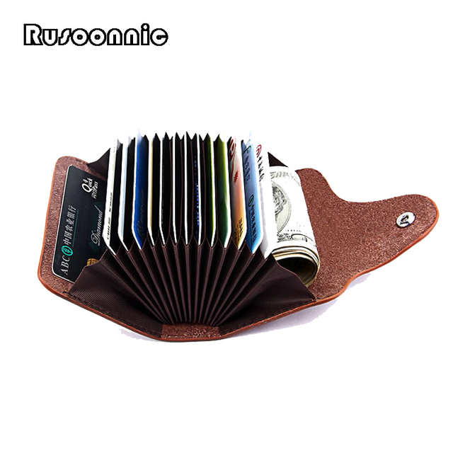 Rusoonnic Split Leather Card Holder Fashion Women Wallet Credit Card Holders Man ID Cover Cardholder