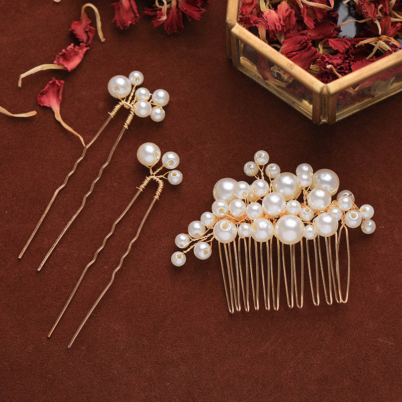 Exquisite Handmade Imitation Pearl Design Hair Comb Set Girls Charming Elegent Luxury Jewelry Hairpins Bride Accessories LB